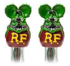 Green Rat Fink Door Lock Knobs Pair Mooneyes Moon Rod Hot Chevy Ford GM Mopar