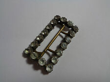 VINTAGE  HEAVY BELT BUCKLE CLEAR FACETED  GLASS STONES