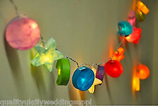 New LED Stars Moons Suns Paper Mache 3D Mix Colour Fairy Light Clear Wire Lights