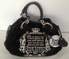 Nuovo con etichette Juicy Couture Genuin Vintage Nero Velour Pelle Once Upon a Time Royal Bag