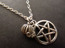"""Pumpkin Pentacle Necklace 18"""" silver plated chain pendant wicca pagan mabon"""