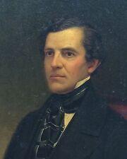 Portrait of a Gentleman Original Vintage Antique Oil Painting Miniature 1800s