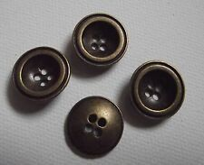LOT 4 BOUTONS * 17 mm *  4 trous  Métal couleur  Bronze * jeans button couture