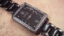 Joan Rivers Gunmetal and Black Watch, Black Crystal CZ Halo