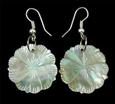 "Handmade 1.6"" Hand Carved Flower Mother of Pearl Dangle earrings ; AA205"