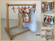 "Handmade Wood Wooden Blythe Doll Clothes Display Rack (10x11"") & 6 Hangers Set"