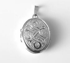 1x 925 Sterling Silver Celtic Oval Opening Photo Locket Pendant for Necklace