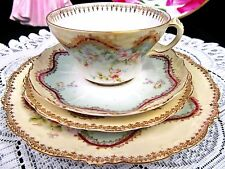 Austria tea cup and saucer trio * plate Eleanor china painted floral pattern
