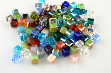 50pcs Loose Mixed Color Glass Crystal Faceted Cube Beads 6mm Spacer Crafts