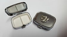 Thatrical Mask PP-G07 English Pewter Emblem on a Rectangular Metal Pill Box