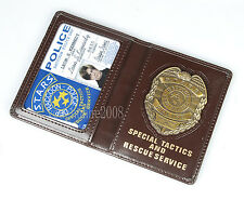 RESIDENT EVIL STARS LEON POLICE METAL BADGE WITH ID WALLET HOLDER CASE-35259
