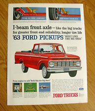 1963 Ford Pickup Truck Ad I-Beam Front Axle Like the Big Trucks