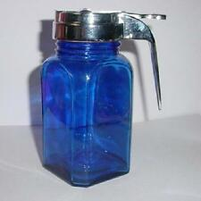 Cobalt Blue Glass Syrup Jar with Metal Lid