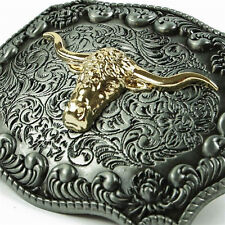 WEST Tau Belt Buckle Man Black Leather Vintage Large Western Alloy