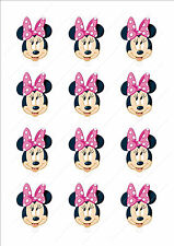 Novelty Minnie Mouse Head Birthday Girl Pink Fairy Cake Cupcake Toppers Edible