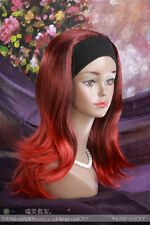 Excellent Red Black Mixed Medium women Daily 3/4 half wig with headband FTLG046