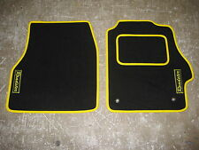 SUPER VELOUR Car Mats to fit Toyota MR2 (99-07) in Black/Yellow + Roadster Logos