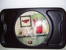 Black Wood Cutting Board Cheese Tray w/Removable Glass Plate, NEW