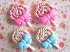 4 x Cute Lollipops Polymer Clay Embellishment Cabochon Decoden Kawaii Crafts UK