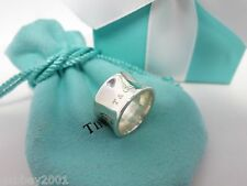 Tiffany & Co. Sterling Silver 1837 Wide Concave Ring Size 5.5 w/ Pouch