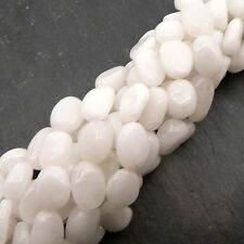 "White Agate Oval Beads 15"" Strand Semi Precious Gemstone"