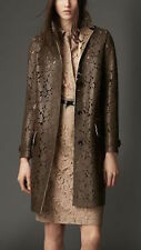 NWT BURBERRY LONDON $6250 WOMENS  LEATHER LASER CUT LACE TRENCH COAT US 4 EU 38
