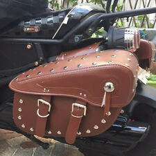 Brown Studded Motorcycle Faux Leather Saddlebags Motorbike Panniers Bags Luggage