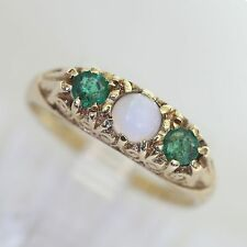 EDWARDIAN SOLID 8K GOLD & EMERALD w OPAL ACCENT BAND RING, 1.8 gms, size 5.5, VG