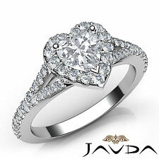 Exquisite Heart Diamond Engagement GIA F VVS2 Platinum Halo Pave Set Ring 1.21Ct