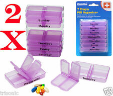 Lot of 2 New Weekly Medicine Storage Pill 7 Day Tablet Sorter Box Container Case