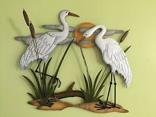 White Cranes Shoreline Coastal Nautical Metal Wall Decor Sunset Birds Wall Art