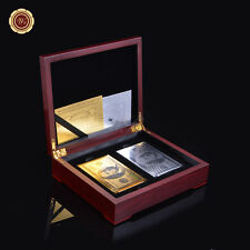 Set of 2 $100 24k Gold & Silver Playing Cards Regular Poker /w Box Double Deck
