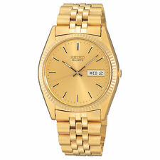 Mens Seiko Quartz Classic Gold Tone Stainless Gold Dial Watch Day Date SGF206