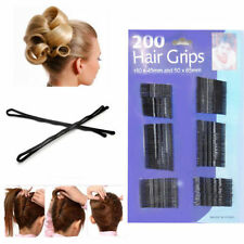 200 PACK BOBBY KIRBY PINS BLACK HAIR GRIP GRIPS CLIPS CLAMPS SALON WAVED SLIDES