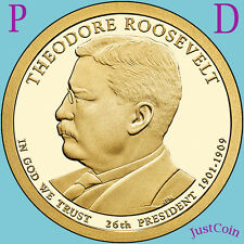 2013 P&D THEODORE ROOSEVELT GOLDEN PRESIDENTIAL DOLLARS SET FROM UNC MINT ROLL