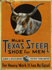 MILES TEXAS STEER SHOE FOR MEN ADVERTISING METAL SIGN