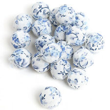 30pcs 110802 Wholesale Round Ball 14mm White&Blue Fabric Flower Covered Beads