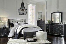 CIARA-5pcs Modern Glossy Black Upholstery Panel Queen Bedroom Set New Furniture