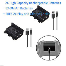 2X 2400mAh Rechargeable Battery Pack for XBOX ONE + FREE 1.8M Long Charge Cable