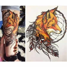 Herren Frauen Feder Fox Form Temporäre Tattoo Stickers Arm Body Aufkleber