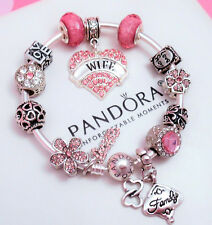 Authentic Pandora Silver Bangle Bracelet With Love Wife European Charms.