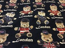 "Union Jack Teddy Bears Tapestry Cushion / Pillow Cover Sham 40cm 16""sq New"