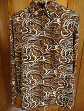 Womens 12 Yves St. Clair Brown/Black/Ivory/Blue/Tan Swirl LS Blouse