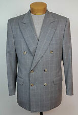 Canali Italy Gray Cashmere Wool Double Breasted Plaid Blazer Jacket Sz 48 38 S