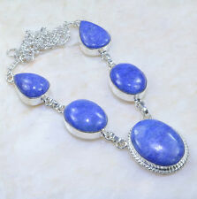 """Handmade Blue Sapphire Gemstone 925 Sterling Silver Necklace 19"""" #AA1025"""