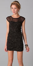Free People Size Large Black Metallic Gold Accent Mesh Bodycon Dress NEW