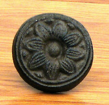 Antique Reproduction Sunflower Drawer Pull Knob (Set of Two} Cast Iron  Brown