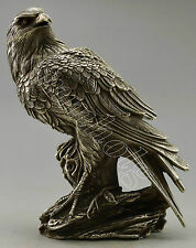 Collectible Decorated Old Handwork Silver Plate Copper Eagle On Tree Statue Box