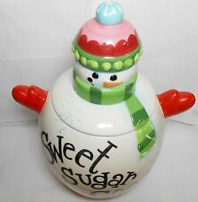 Snowman Sweet Sugar Cookies Jar Ceramic Christmas Canister XMAS CHEER Jay Import