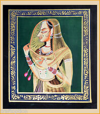 Original handmade Miniature painting on silk cloth natural colors from India!